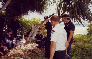 Lt. Waugh briefs officers before the manhunt begins on Gea Island.