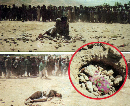 Afghanistan stoning for adultery. The man is above ground and the woman was buried in a pit up to her chest and stoned to death. Is this what we are fighting for?