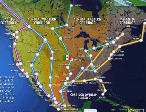 These NAFTA super transportation corridors are real and in a state of expanding across North America. With the integration of North America people can flow freely across the continent. The Mexican flag in Kansas City is a Mexican inspection station. Once the common security perimeter is in place around the continent, the U.S. will have reached the point of no return.