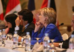 Secretary of State Hillary Clinton is in charge of moving forward on the integration of North America and the Pathways to Prosperity in the Americas, an integration of the hemisphere.