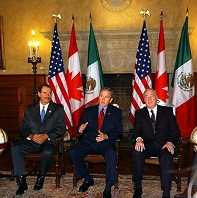 Bush, PM Martin and Vicente Fox met in Waco, Texas on March 23, 2005 and signed the Security and Prosperity Partnership of North America (SPP).