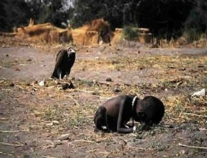 An emaciated child in the Sudan (1993) moves slowly toward a food source while a vulture waits with anticipation. The girl finally makes it and Kevin Clark, the photographer who won a Pulitzer Prize for that image the next year, killed himself in 1994.