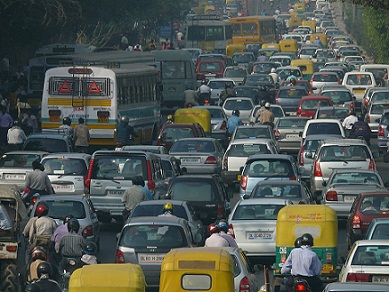 Traffic jam in New Delhi, India. NOMAD.